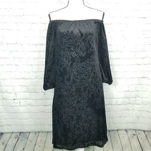 NWT WHBM Womens Black Velvet Burnout Dress